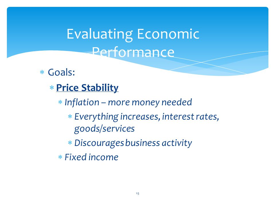  Goals:  Price Stability  Inflation – more money needed  Everything increases, interest rates, goods/services  Discourages business activity  Fixed income 15 Evaluating Economic Performance
