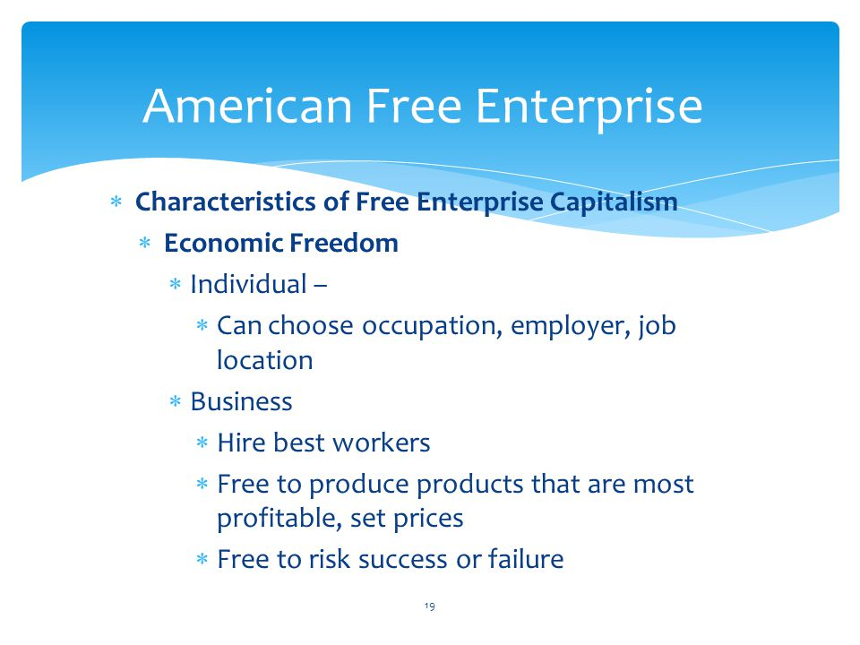  Characteristics of Free Enterprise Capitalism  Economic Freedom  Individual –  Can choose occupation, employer, job location  Business  Hire best workers  Free to produce products that are most profitable, set prices  Free to risk success or failure 19 American Free Enterprise