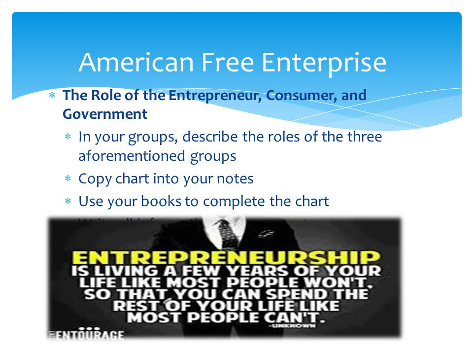  The Role of the Entrepreneur, Consumer, and Government  In your groups, describe the roles of the three aforementioned groups  Copy chart into your notes  Use your books to complete the chart  Write all information into your notes 25 American Free Enterprise