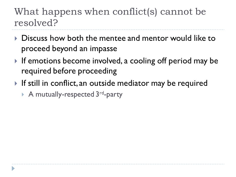 What happens when conflict(s) cannot be resolved.
