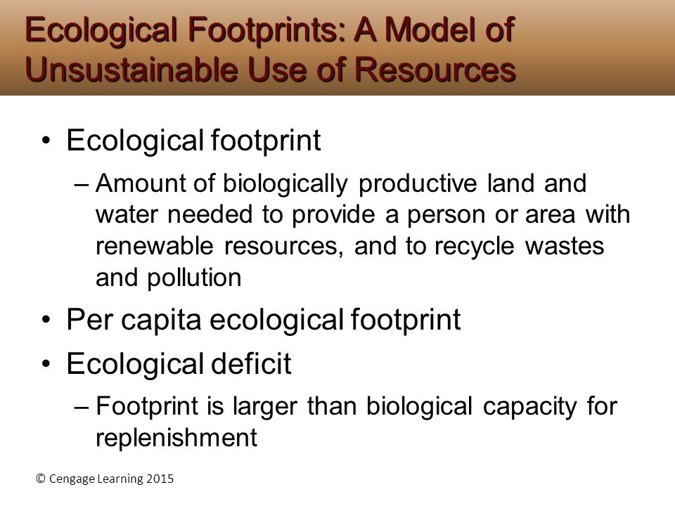 © Cengage Learning 2015 Ecological footprint –Amount of biologically productive land and water needed to provide a person or area with renewable resou