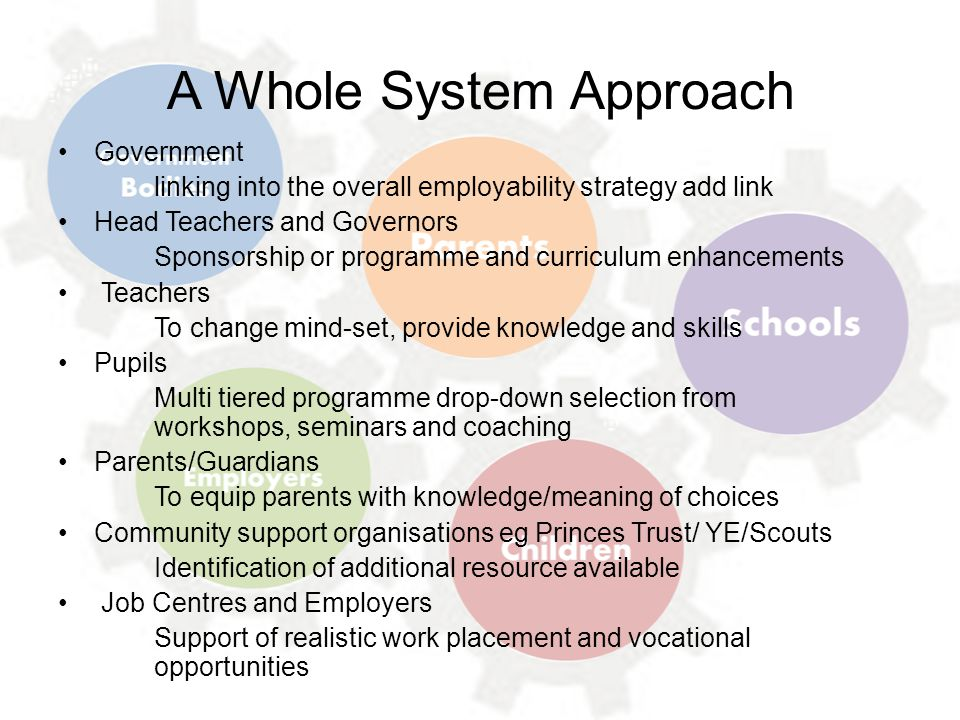 A Whole System Approach Government linking into the overall employability strategy add link Head Teachers and Governors Sponsorship or programme and c