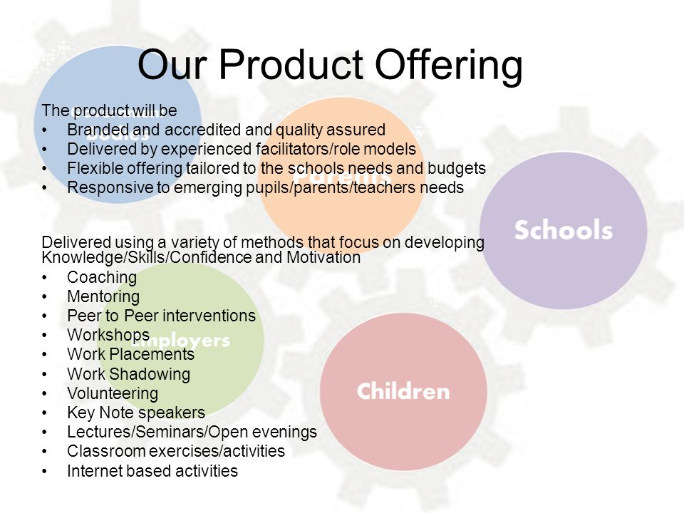 Our Product Offering The product will be Branded and accredited and quality assured Delivered by experienced facilitators/role models Flexible offerin