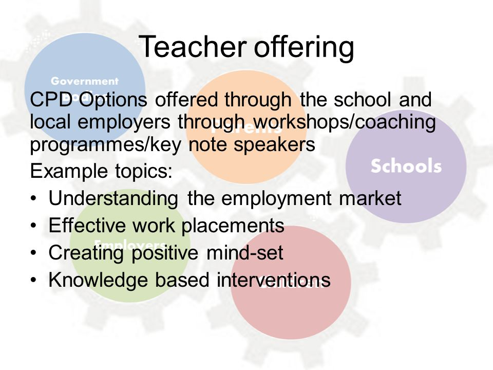Teacher offering CPD Options offered through the school and local employers through workshops/coaching programmes/key note speakers Example topics: Understanding the employment market Effective work placements Creating positive mind-set Knowledge based interventions