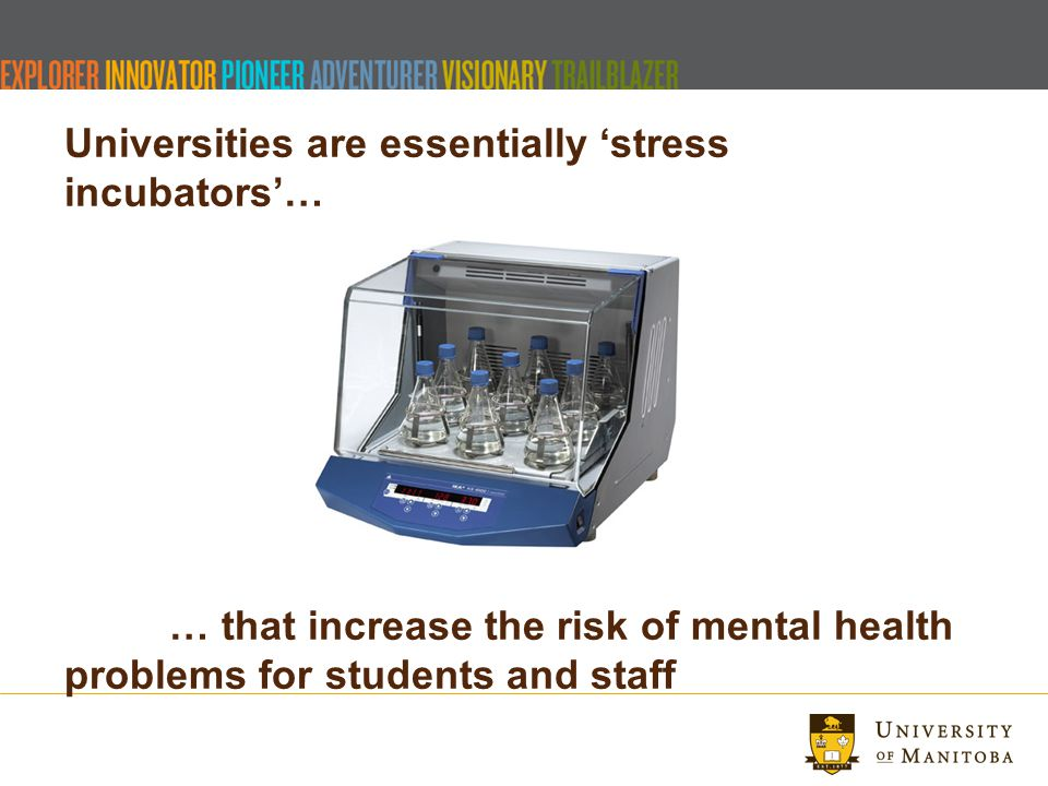 Universities are essentially 'stress incubators'… … that increase the risk of mental health problems for students and staff