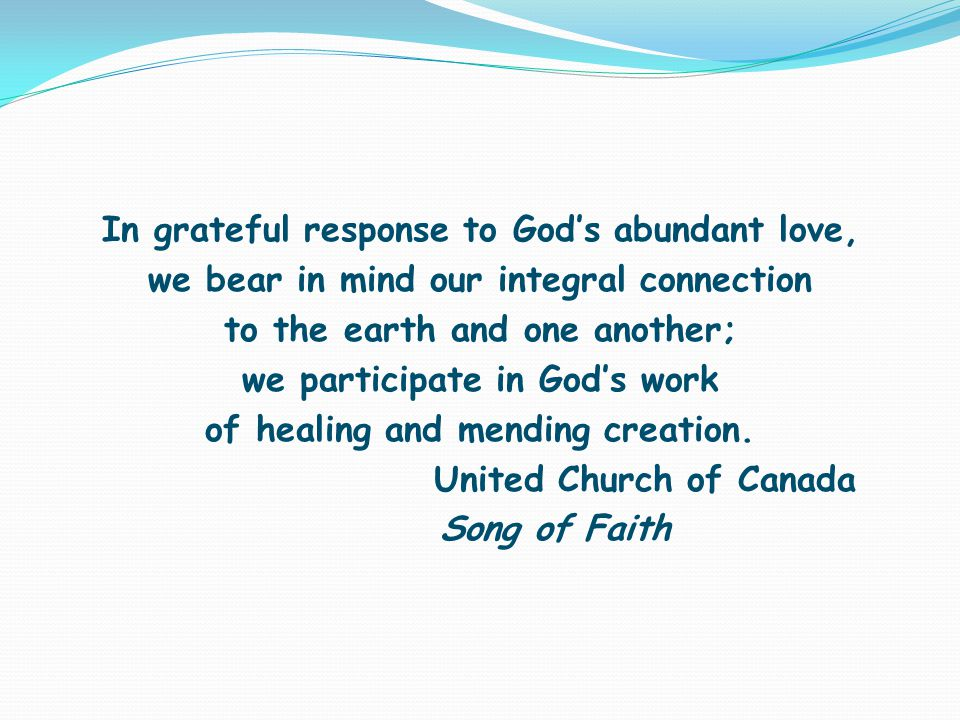 In grateful response to God's abundant love, we bear in mind our integral connection to the earth and one another; we participate in God's work of healing and mending creation.