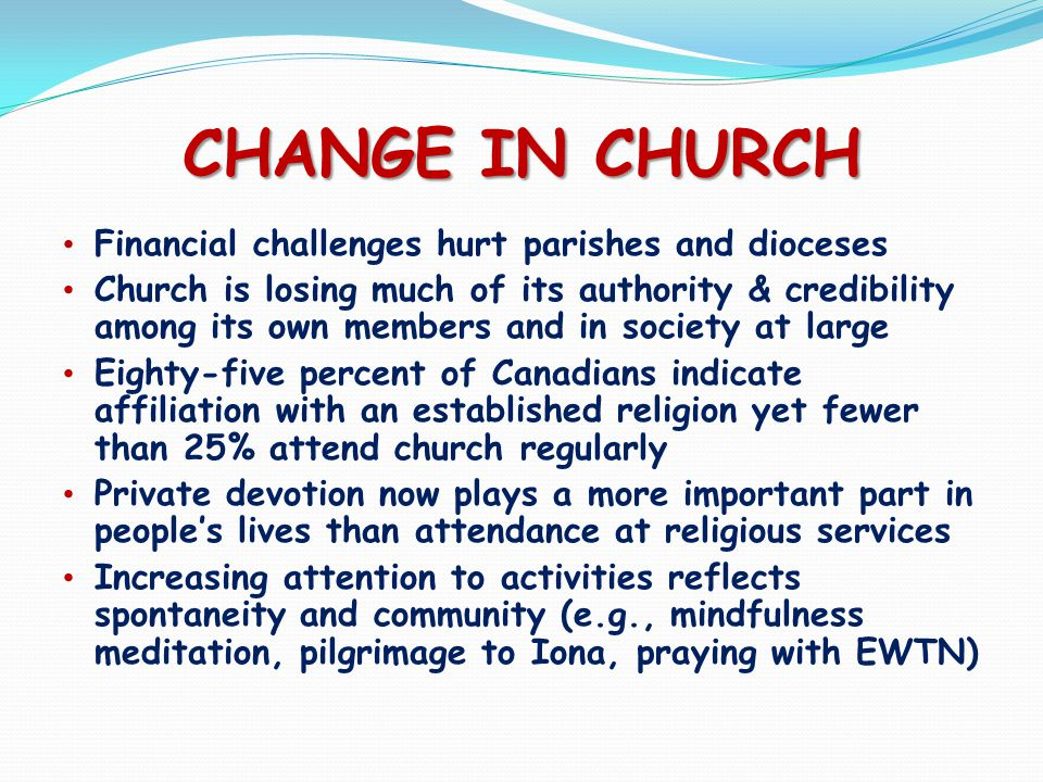 CHANGE IN CHURCH Financial challenges hurt parishes and dioceses Church is losing much of its authority & credibility among its own members and in society at large Eighty-five percent of Canadians indicate affiliation with an established religion yet fewer than 25% attend church regularly Private devotion now plays a more important part in people's lives than attendance at religious services Increasing attention to activities reflects spontaneity and community (e.g., mindfulness meditation, pilgrimage to Iona, praying with EWTN)