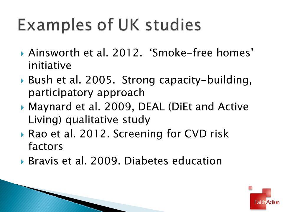 Ainsworth et al. 2012. 'Smoke-free homes' initiative  Bush et al.