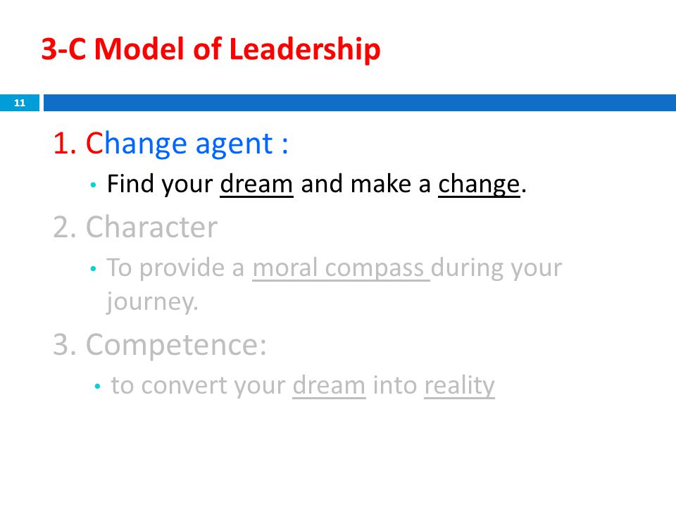 3-C Model of Leadership 1. Change agent : Find your dream and make a change. 2. Character To provide a moral compass during your journey. 3. Competenc