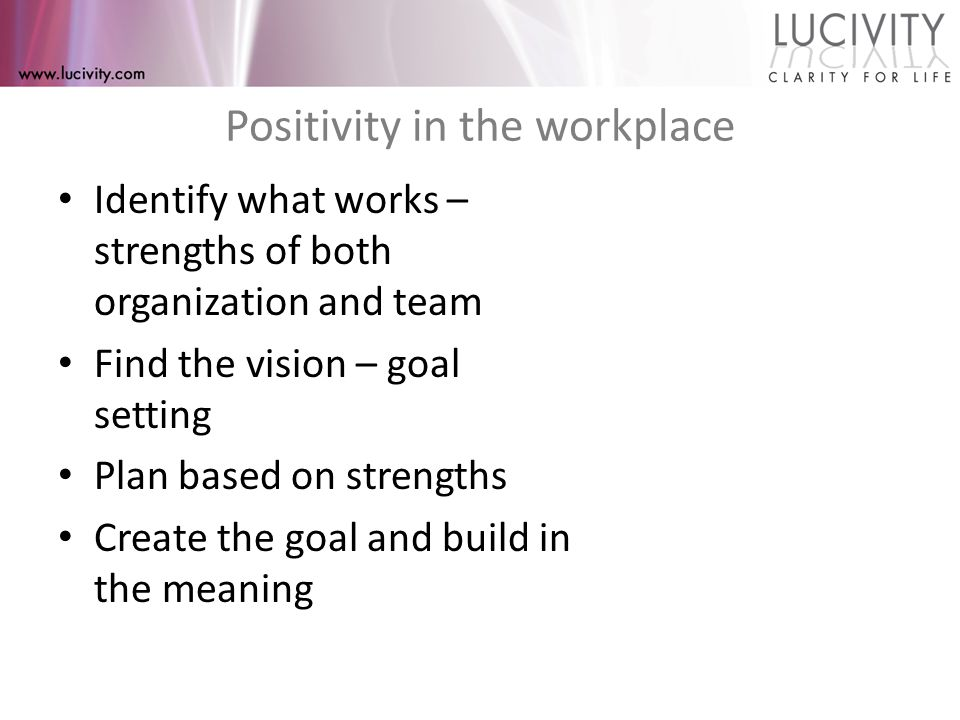 Positivity in the workplace Identify what works – strengths of both organization and team Find the vision – goal setting Plan based on strengths Create the goal and build in the meaning