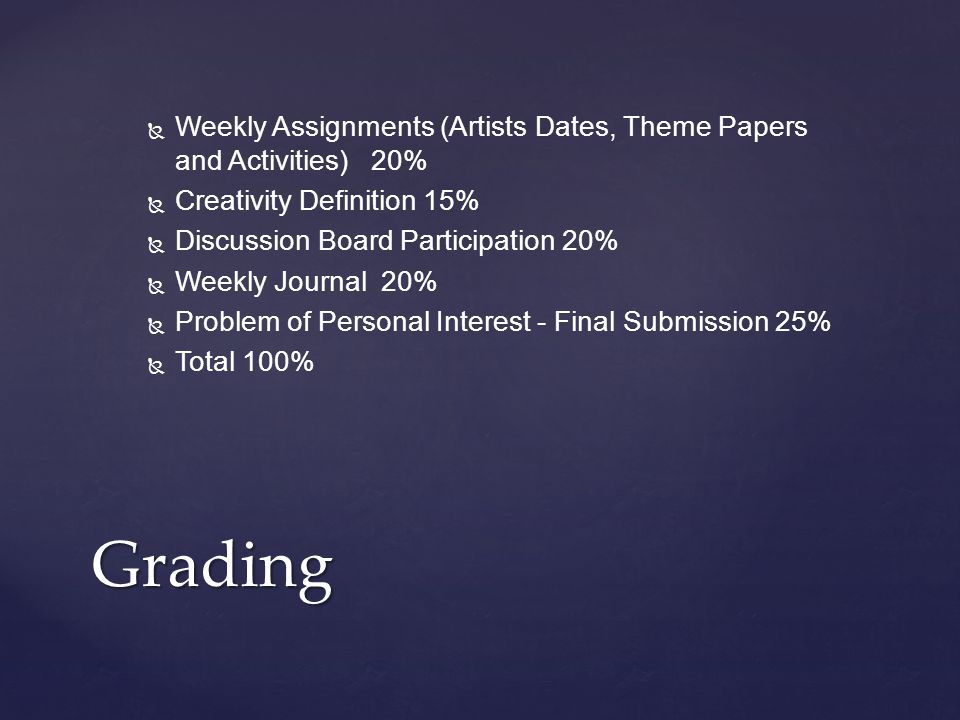   Weekly Assignments (Artists Dates, Theme Papers and Activities) 20%   Creativity Definition 15%   Discussion Board Participation 20%   Weekly Journal 20%   Problem of Personal Interest - Final Submission 25%   Total 100% Grading