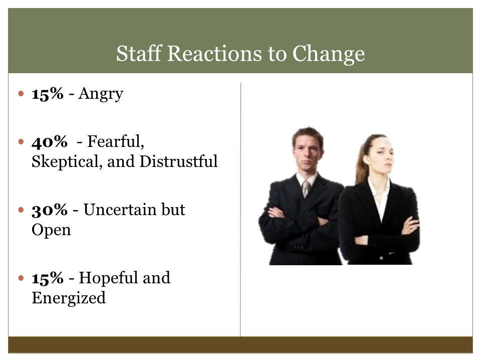 Staff Reactions to Change 15% - Angry 40% - Fearful, Skeptical, and Distrustful 30% - Uncertain but Open 15% - Hopeful and Energized