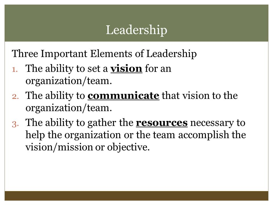 Leadership Three Important Elements of Leadership 1.