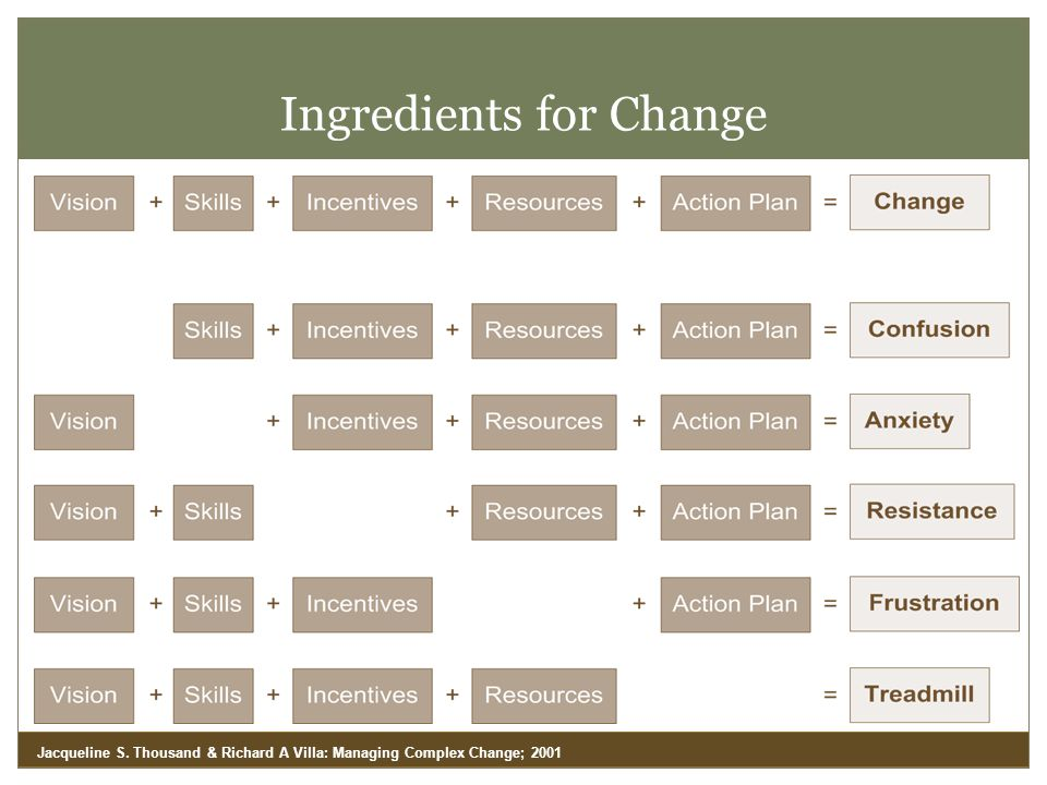 Ingredients for Change Jacqueline S. Thousand & Richard A Villa: Managing Complex Change; 2001