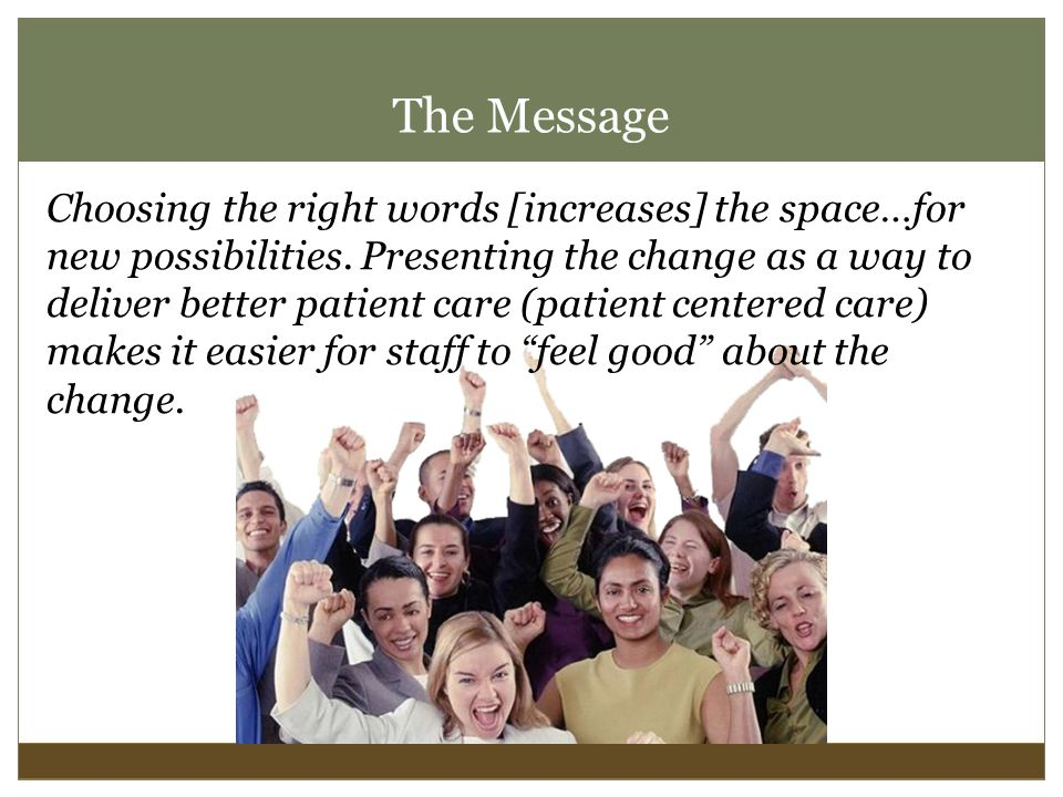 The Message Choosing the right words [increases] the space…for new possibilities.