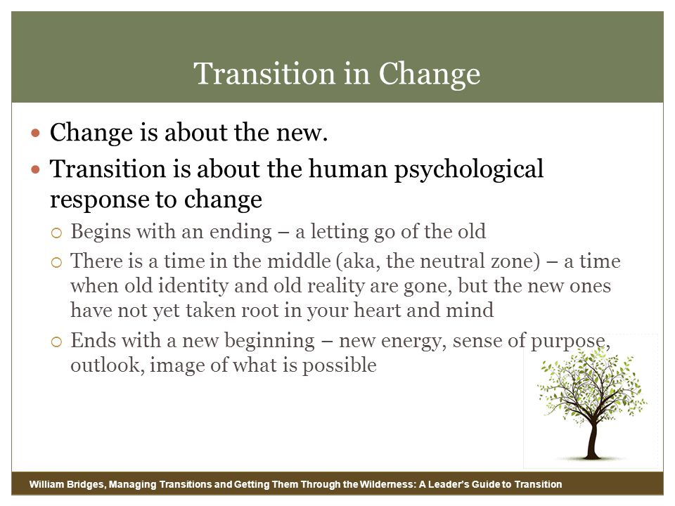 Transition in Change Change is about the new.