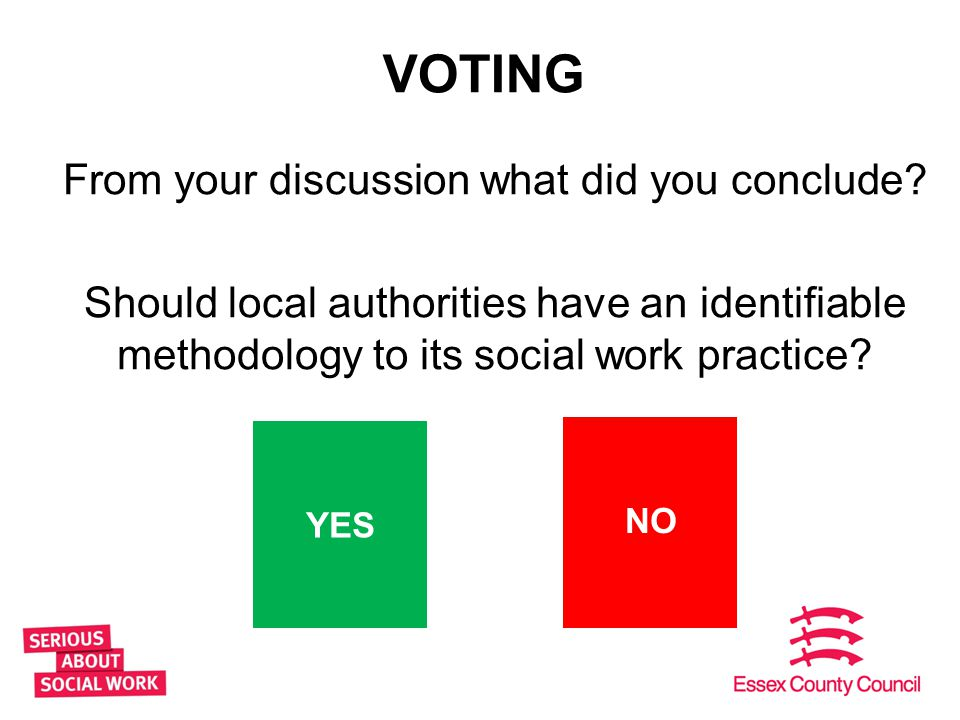 VOTING From your discussion what did you conclude? Should local authorities have an identifiable methodology to its social work practice? 11 YES NO