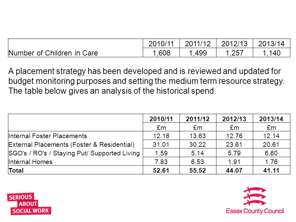 20 2010/112011/122012/132013/14 Number of Children in Care1,6081,4991,2571,140 A placement strategy has been developed and is reviewed and updated for