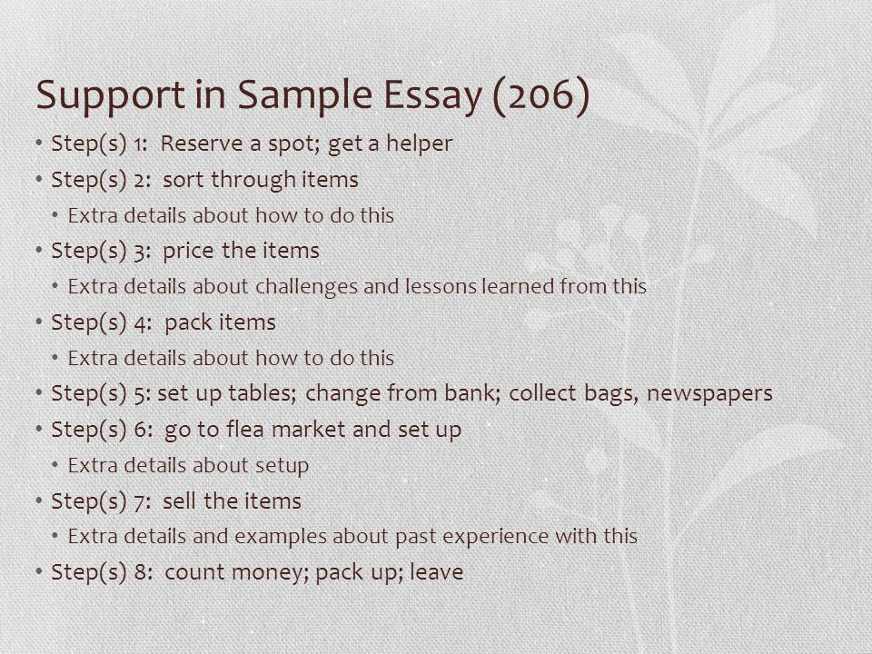 Support in Sample Essay (206) Step(s) 1: Reserve a spot; get a helper Step(s) 2: sort through items Extra details about how to do this Step(s) 3: price the items Extra details about challenges and lessons learned from this Step(s) 4: pack items Extra details about how to do this Step(s) 5: set up tables; change from bank; collect bags, newspapers Step(s) 6: go to flea market and set up Extra details about setup Step(s) 7: sell the items Extra details and examples about past experience with this Step(s) 8: count money; pack up; leave