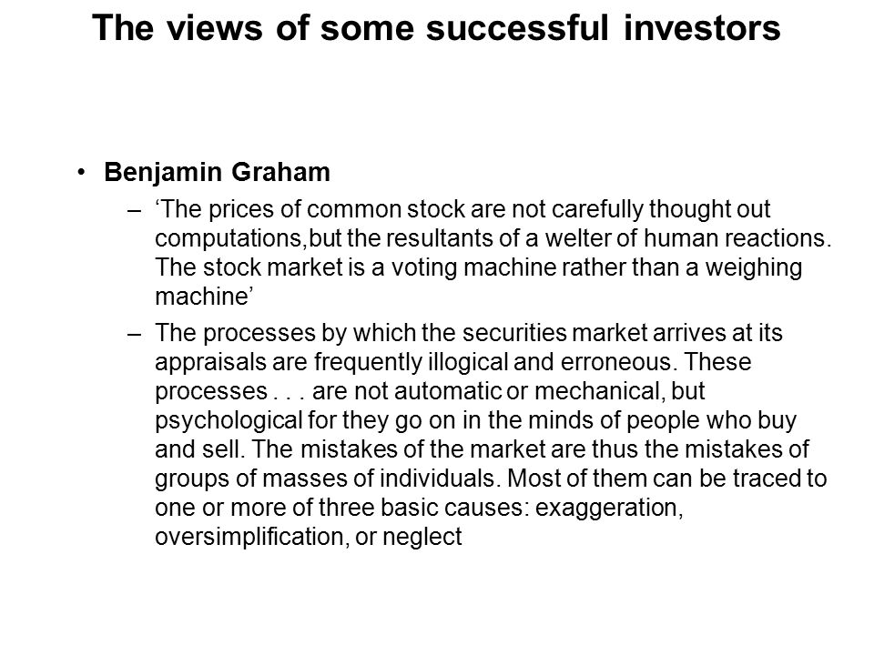 Concluding comments Sophisticated stock markets are substantially efficient Question the assumption that all investors respond in a similar manner to the same risk and return factors and that these can be easily identified One way of 'outperforming' the market might be to select shares the attributes of which you dislike less than the other investors Another way is through luck Possessing superior analytical skills Through the discovery of a trading rule which works To be quicker than anyone else To become an insider
