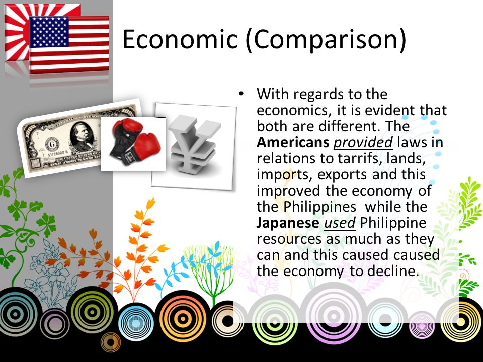 Economic (Comparison) With regards to the economics, it is evident that both are different. The Americans provided laws in relations to tarrifs, lands