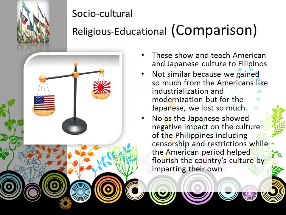Socio-cultural Religious-Educational (Comparison) These show and teach American and Japanese culture to Filipinos Not similar because we gained so muc