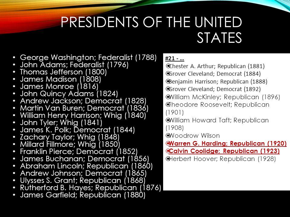 PRESIDENTS OF THE UNITED STATES George Washington; Federalist (1788) John Adams; Federalist (1796) Thomas Jefferson (1800) James Madison (1808) James Monroe (1816) John Quincy Adams (1824) Andrew Jackson; Democrat (1828) Martin Van Buren; Democrat (1836) William Henry Harrison; Whig (1840) John Tyler; Whig (1841) James K.