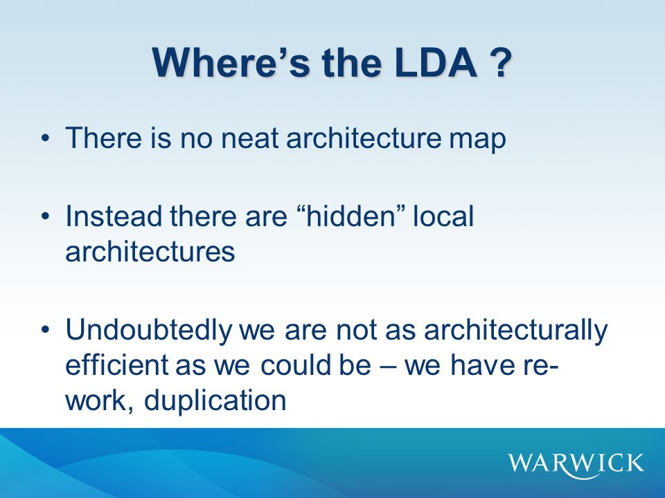 Where's the LDA .