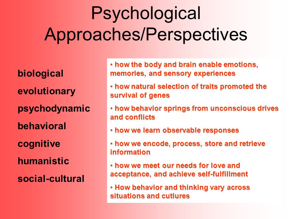 Psychological Approaches/Perspectives biological evolutionary psychodynamic behavioral cognitive humanistic social-cultural how the body and brain ena