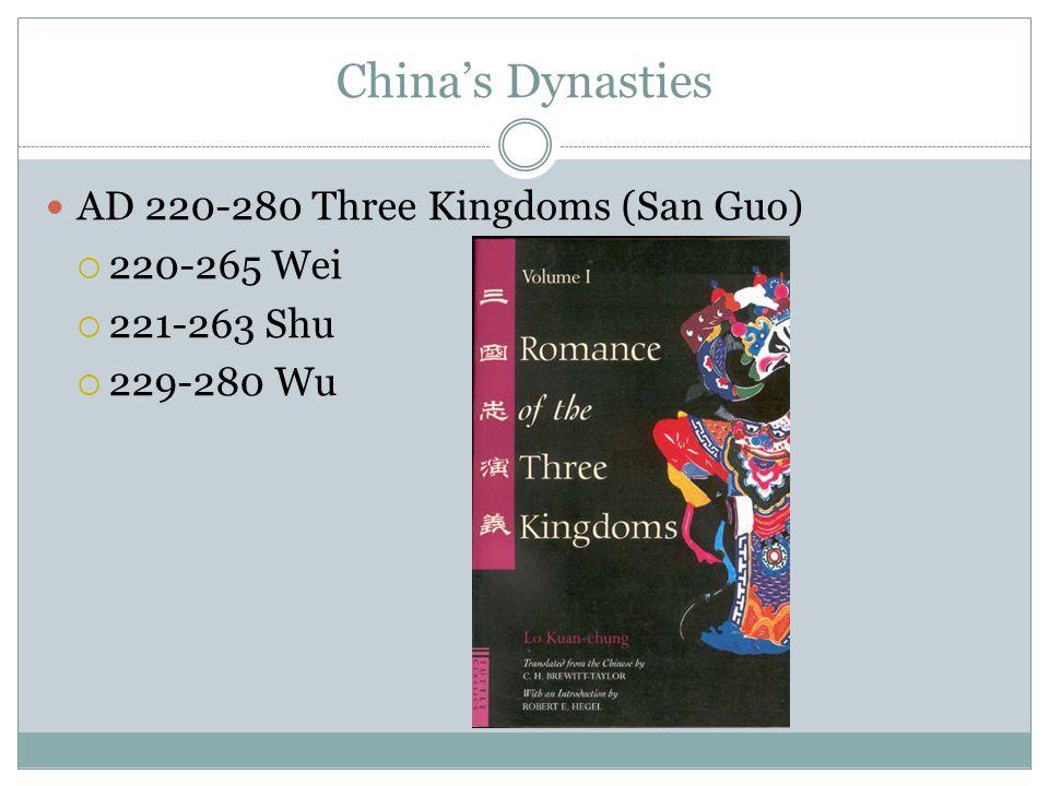 China's Dynasties AD 220-280 Three Kingdoms (San Guo)  220-265 Wei  221-263 Shu  229-280 Wu