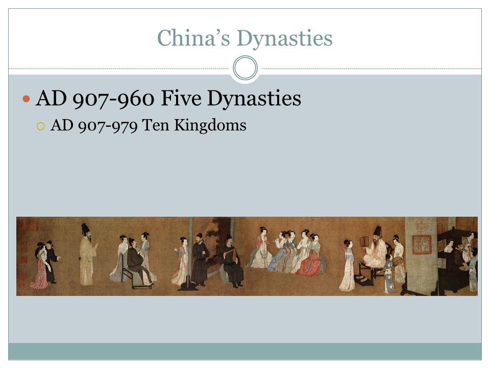 China's Dynasties AD 907-960 Five Dynasties  AD 907-979 Ten Kingdoms