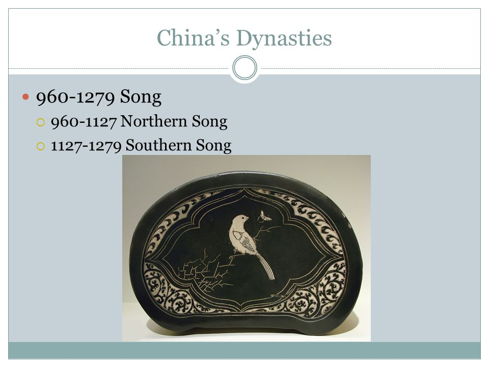 China's Dynasties 960-1279 Song  960-1127 Northern Song  1127-1279 Southern Song