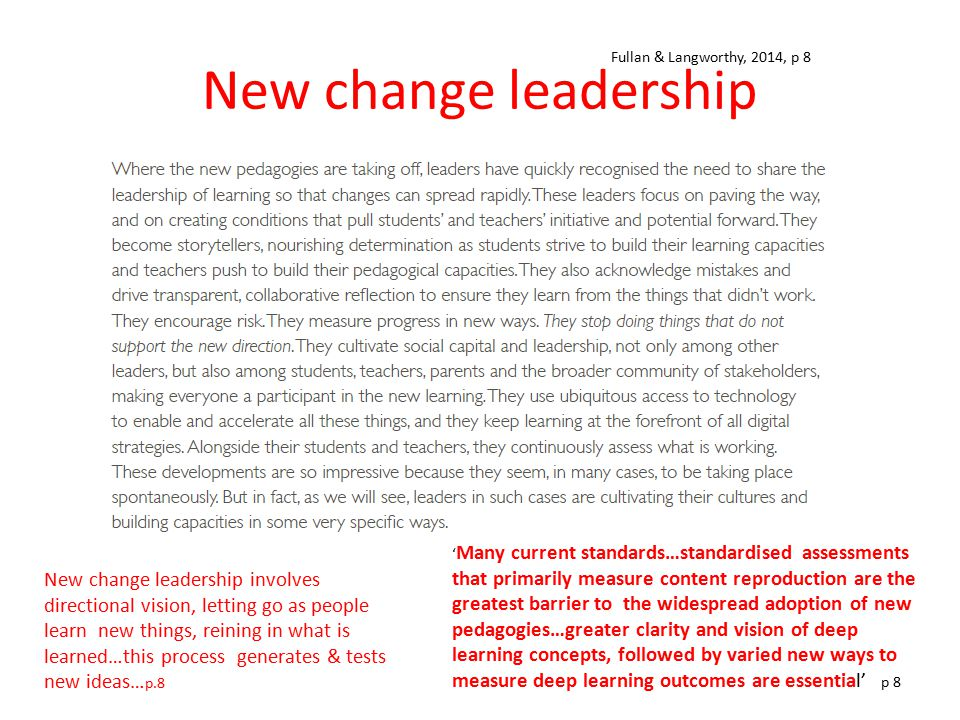 New change leadership ' Many current standards…standardised assessments that primarily measure content reproduction are the greatest barrier to the wi