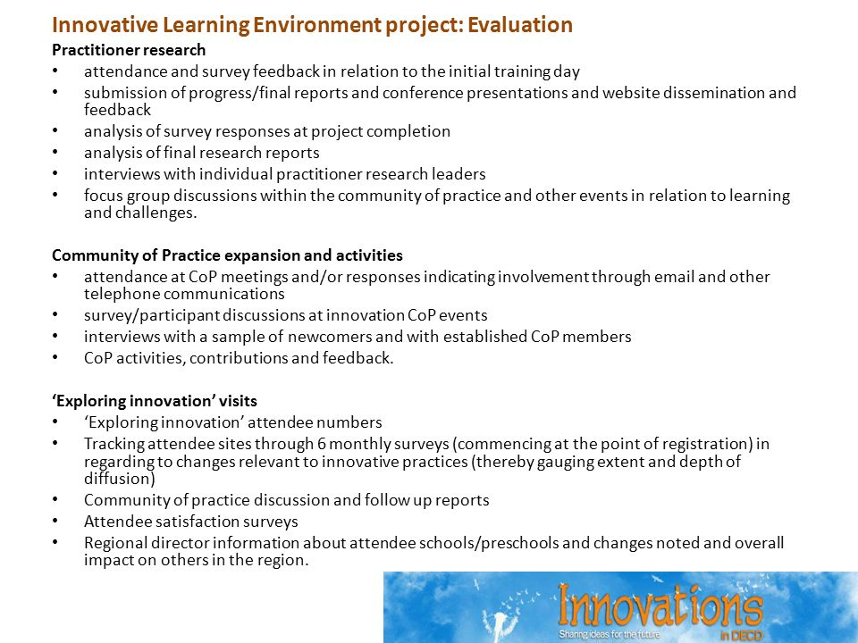 Innovative Learning Environment project: Evaluation Practitioner research attendance and survey feedback in relation to the initial training day submi