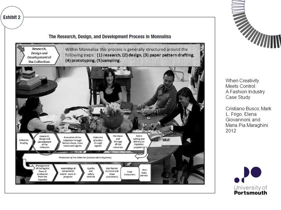 7 When Creativity Meets Control: A Fashion Industry Case Study Cristiano Busco, Mark L. Frigo, Elena Giovannoni, and Maria Pia Maraghini 2012