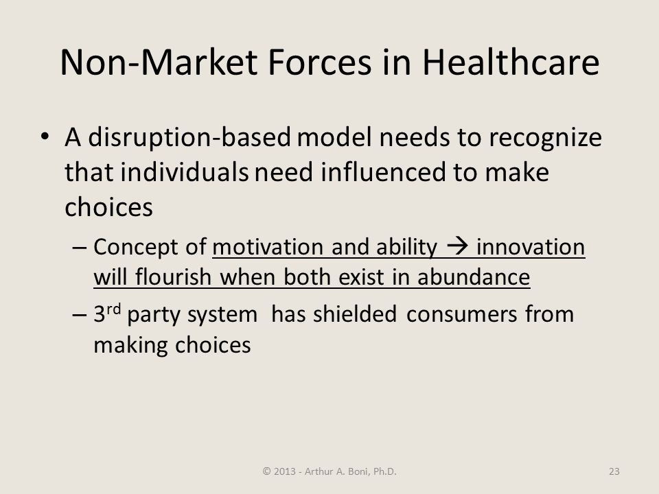 Non-Market Forces in Healthcare A disruption-based model needs to recognize that individuals need influenced to make choices – Concept of motivation and ability  innovation will flourish when both exist in abundance – 3 rd party system has shielded consumers from making choices © 2013 - Arthur A.
