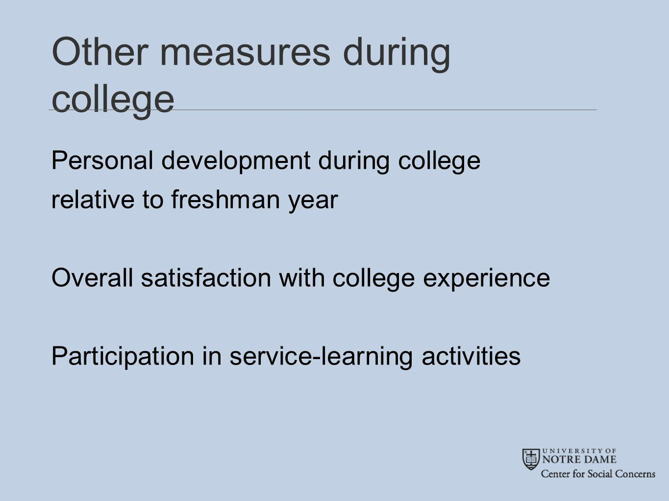 Other measures during college Personal development during college relative to freshman year Overall satisfaction with college experience Participation in service-learning activities