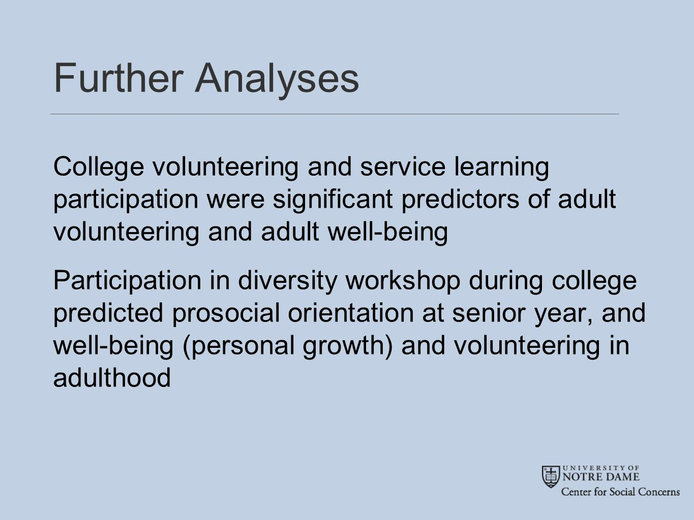 Further Analyses College volunteering and service learning participation were significant predictors of adult volunteering and adult well-being Participation in diversity workshop during college predicted prosocial orientation at senior year, and well-being (personal growth) and volunteering in adulthood