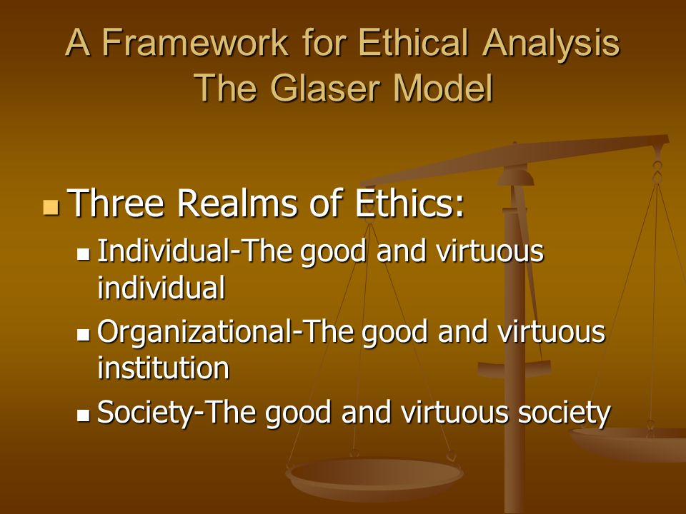 Individual Ethics Deals with the good and goodness of individuals.