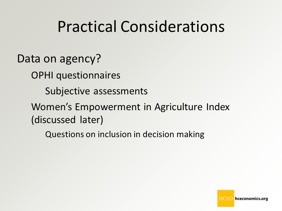 Practical Considerations Data on agency? OPHI questionnaires Subjective assessments Women's Empowerment in Agriculture Index (discussed later) Questio
