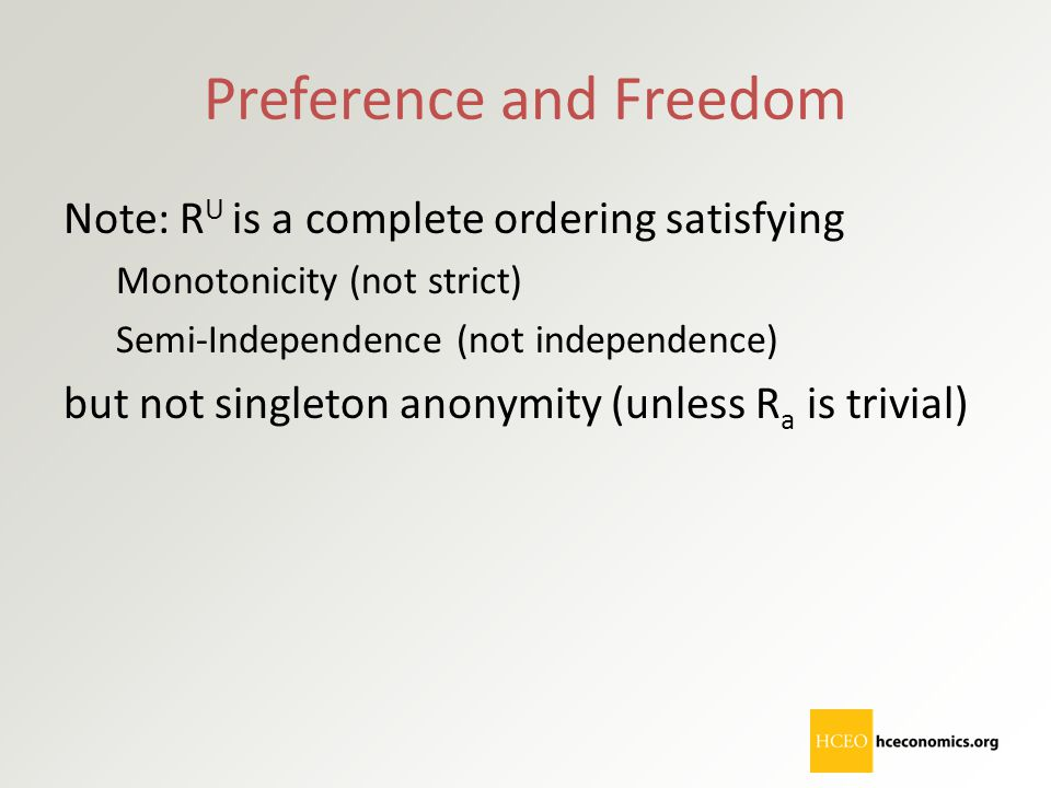 Preference and Freedom Note: R U is a complete ordering satisfying Monotonicity (not strict) Semi-Independence (not independence) but not singleton an