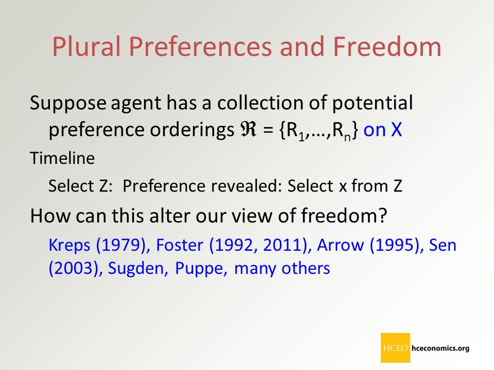 Plural Preferences and Freedom Suppose agent has a collection of potential preference orderings  = {R 1,…,R n } on X Timeline Select Z: Preference re