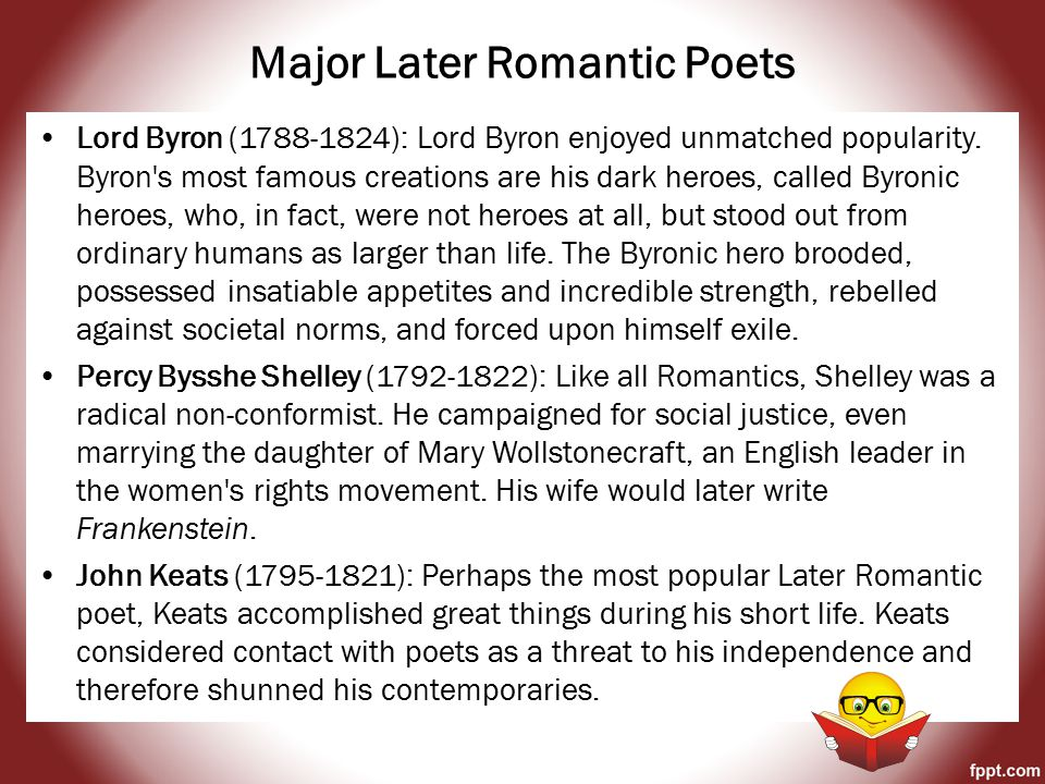 Romanticism Gothic Novels: were long stories that contained elements of suspense, mystery, magic, and macabre that included exotic settings such as haunted castles and untamed wilderness