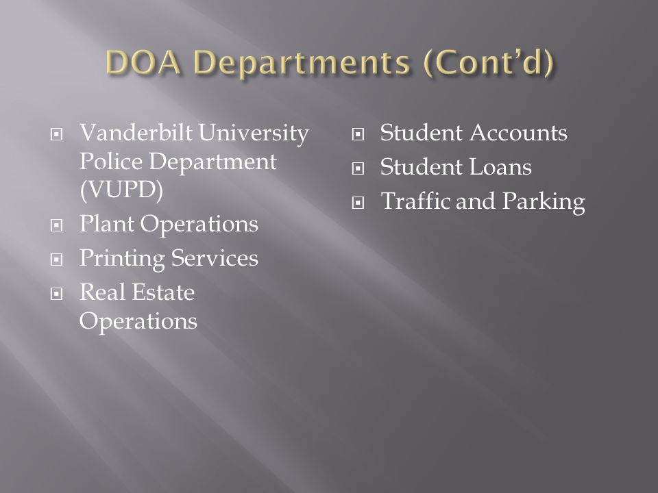  Vanderbilt University Police Department (VUPD)  Plant Operations  Printing Services  Real Estate Operations  Student Accounts  Student Loans  Traffic and Parking
