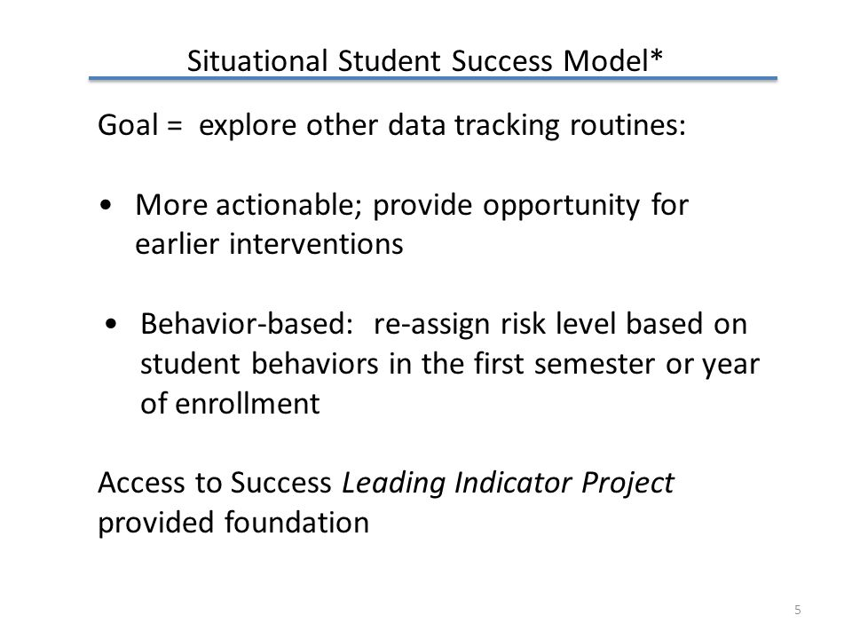 Situational Student Success Model* Goal = explore other data tracking routines: More actionable; provide opportunity for earlier interventions Behavior-based: re-assign risk level based on student behaviors in the first semester or year of enrollment Access to Success Leading Indicator Project provided foundation 5