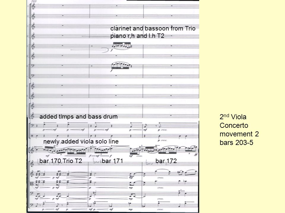 bar 170 Trio T2 bar 171 bar 172 newly added viola solo line clarinet and bassoon from Trio piano r,h and l.h T2 added timps and bass drum 2 nd Viola Concerto movement 2 bars 203-5