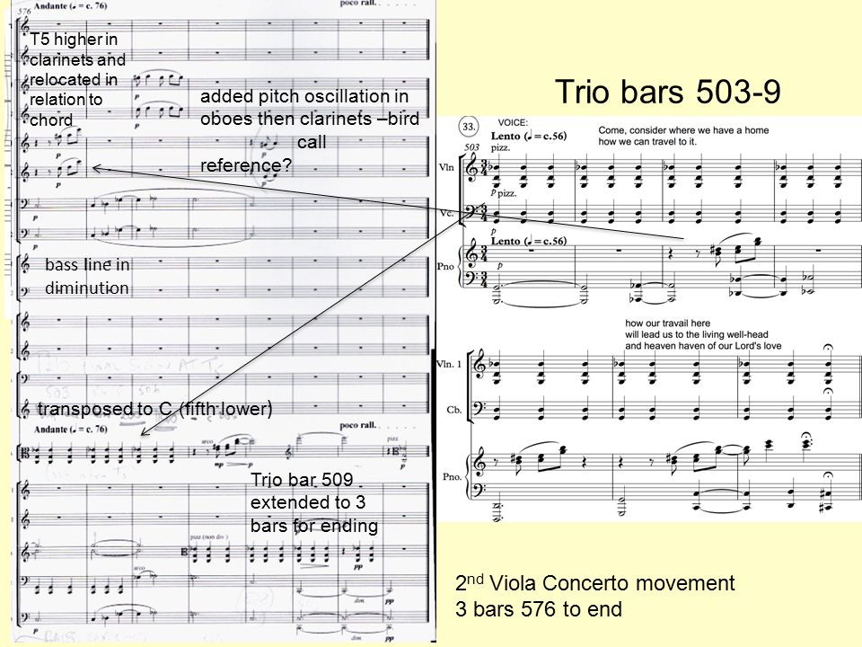 Trio bars 503-9 transposed to C (fifth lower ) T5 higher in clarinets and relocated in relation to chord 2 nd Viola Concerto movement 3 bars 576 to end bass line in diminution Trio bar 509 extended to 3 bars for ending added pitch oscillation in oboes then clarinets –bird call reference