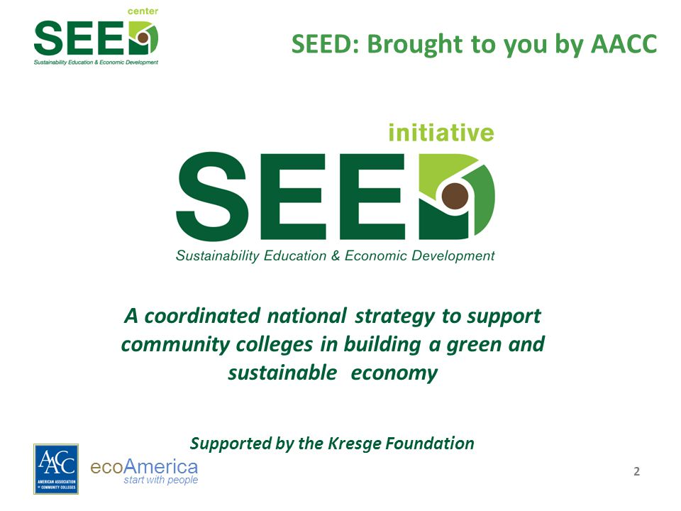ecoAmerica start with people SEED: Brought to you by AACC 2 A coordinated national strategy to support community colleges in building a green and sustainable economy Supported by the Kresge Foundation