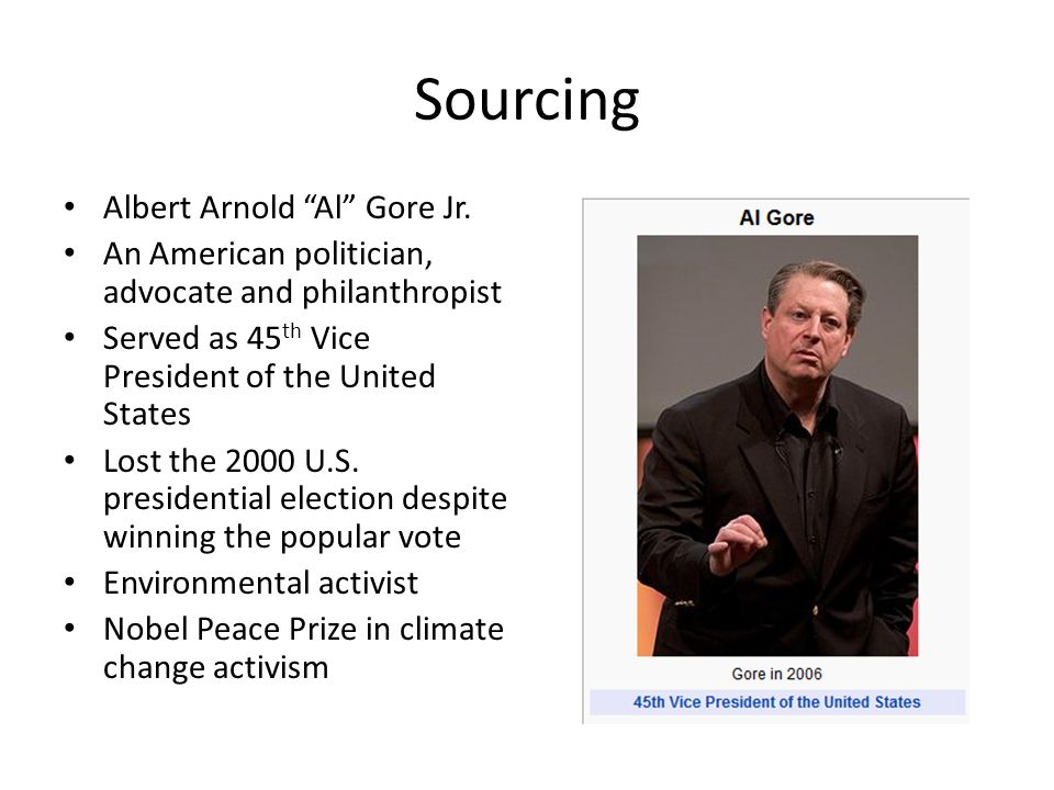 Sourcing Albert Arnold Al Gore Jr.