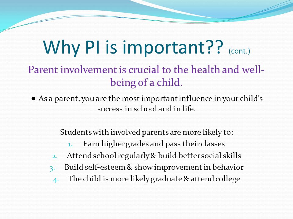 Types of Parent Involvement Researchers have identified 3 constructs of parent involvement: Communicating Supervision Parental expectations & Parenting Styles